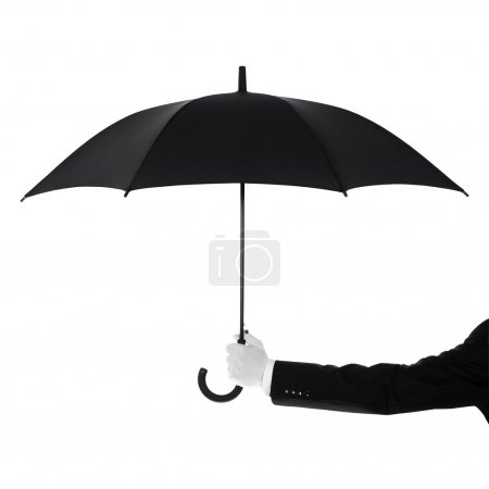 Photo for Well Dressed Man Protecting Your Text Or Product With An Umbrella - Royalty Free Image