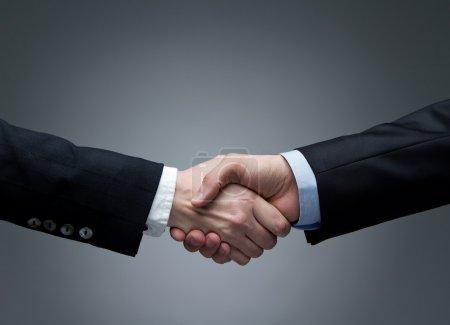 Photo pour Femme et hommes se serrant la main - image libre de droit