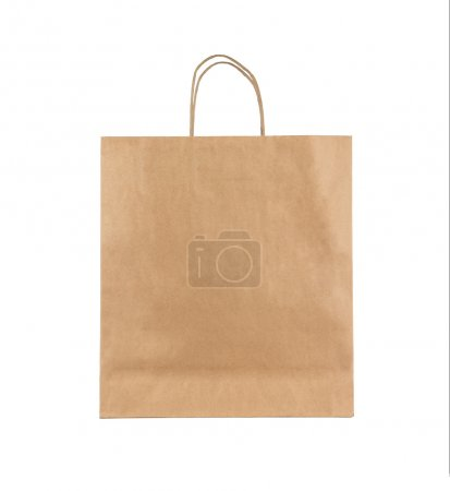 Photo pour Sac en papier brun blanc isolé sur fond blanc - image libre de droit