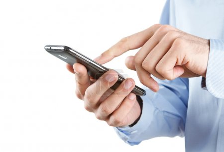 Photo for Close up of man using smart phone isolated on white background - Royalty Free Image