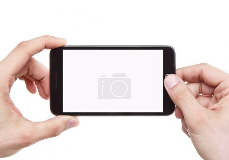 Photo for Taking photo with smart phone isolated on white background with clipping path for the screen - Royalty Free Image