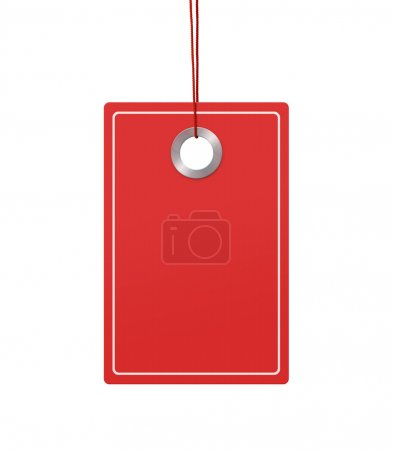 Photo for Blank price tag with copy space hanging over white background - Royalty Free Image