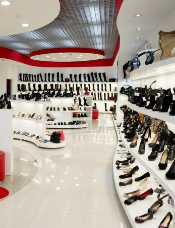 Photo for Interior of shop of fashionable footwear - Royalty Free Image