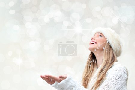Photo for Christmas holiday woman with snow - Royalty Free Image