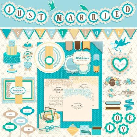 Foto de Wedding`s elementos del libro de recuerdos del día. ilustración vectorial - Imagen libre de derechos