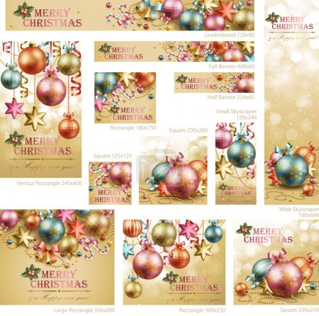 Photo for Collection of Christmas vintage banners with baubles and place for text. Vector illustration. - Royalty Free Image
