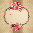 Valentines Day vintage lace card with heart and pl...