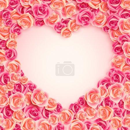 Illustration pour Valentines vintage place carte rose pour le texte . - image libre de droit