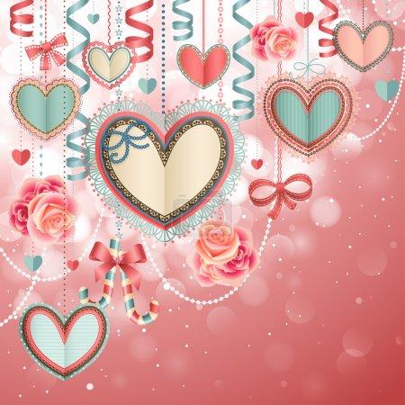 Illustration pour Saint Valentin carte vintage avec coeurs de papier et de la place pour le texte. - image libre de droit