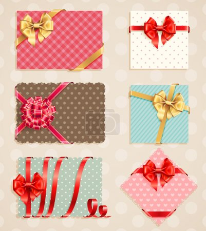 Illustration for Bows Collection with vintage greeting cards. Vector illustration. - Royalty Free Image