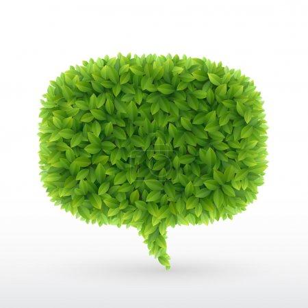 Illustration for Summer Bubble for speech, Green leaves. Vector illustration. - Royalty Free Image
