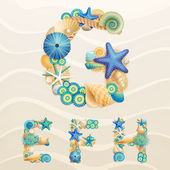 Vector sea life font on sand background Check my portfolio for other letters and numbers