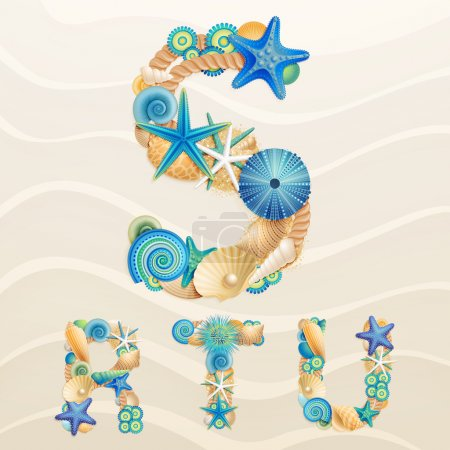 Vector sea life font on sand background