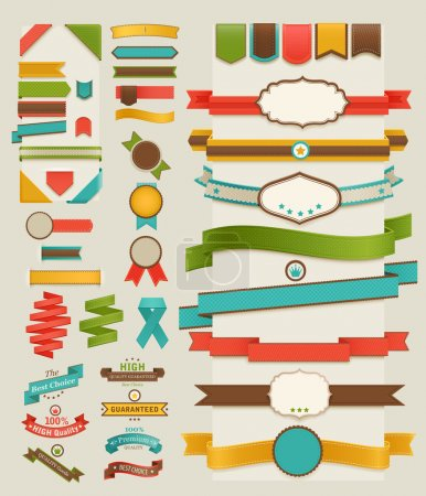 Ilustración de Set with retro ribbons and labels, vector illustration. - Imagen libre de derechos