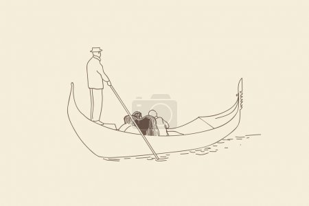 SKETCH.The gondolier floats