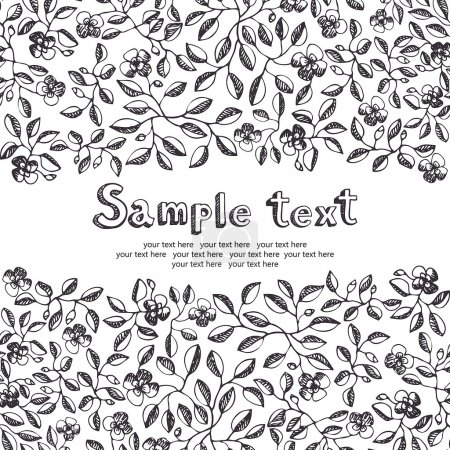 Illustration for Flower and leaves invitation - Royalty Free Image