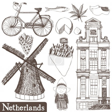 Illustration pour Pays-Bas - image libre de droit