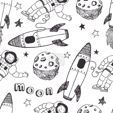 Illustration for Rockets and astronauts pattern - Royalty Free Image