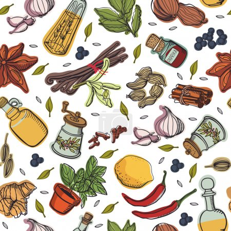 Illustration for Spices kitchen pattern - Royalty Free Image