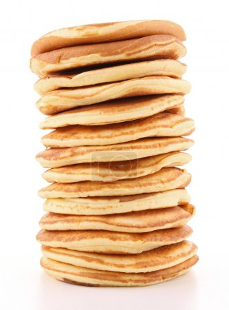 Isolated stack of pancakes on white background...