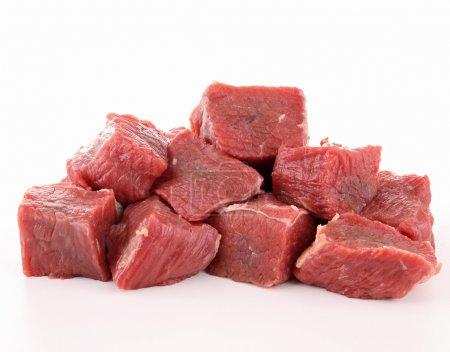 Raw fresh beef cubes