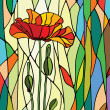 Multicolored stained glass with floral motif, vect...