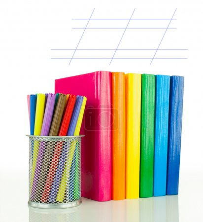 Row of colorful books - Back to school concept