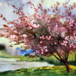 Watercolor painting landscape with blooming spring...