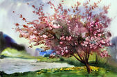 Watercolor painting landscape with blooming spring tree with flowers.