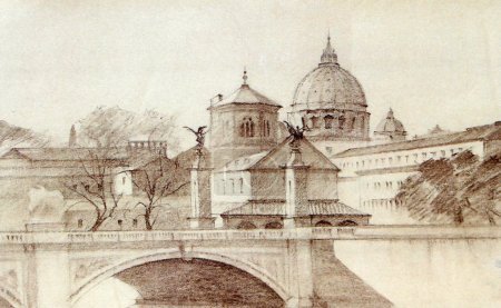 Basilica San Pietro painted by pencil,