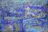 Abstract painting with blue bridge.