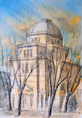 Watercolor of Roman Synagogue