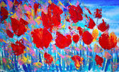 Abstract red flowers painting