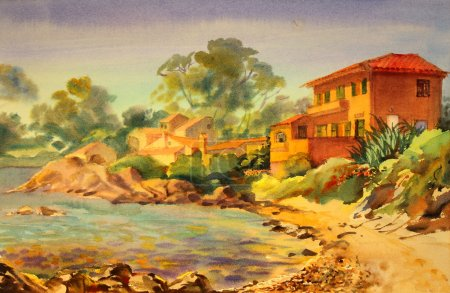 Watercolor painting of Cote d'Azur, France.