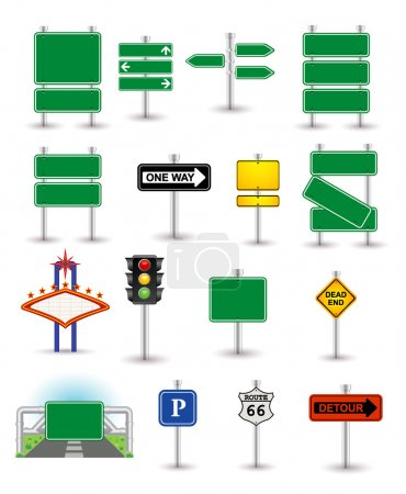 Illustration for Set of green signs - Royalty Free Image