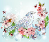 Spring scenery with hand drawn bird and floral branch