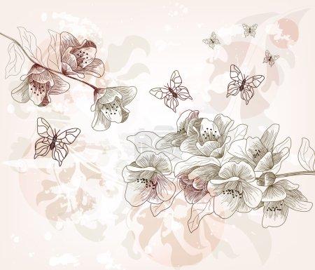 Illustration pour Branches de fleurs de cerisier dessinées à la main, style vintage - image libre de droit