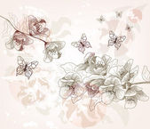 Hand drawn cherry blossom branches vintage style