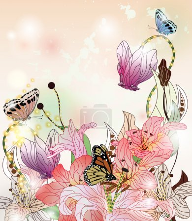 Illustration for Enchanted garden with different kinds of flowers and butterflies - Royalty Free Image