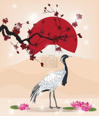 Illustration pour Belle image orientale avec branche sakura et grue - image libre de droit