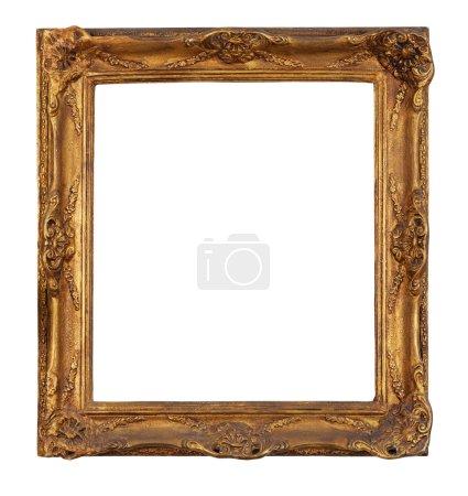 Foto de Antiguo marco dorado, fondo blanco aislado, trazado de recorte. - Imagen libre de derechos