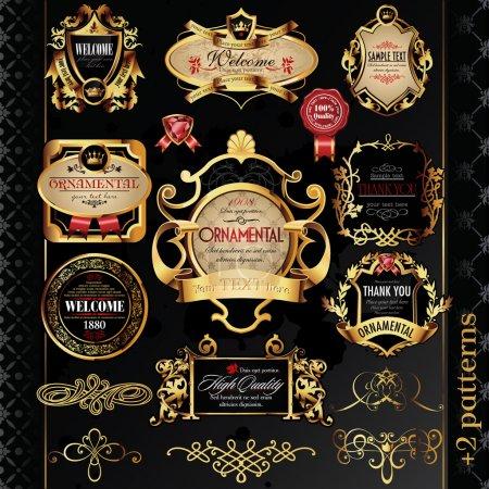Illustration for Vector set: calligraphic design elements and golden labels. - Royalty Free Image