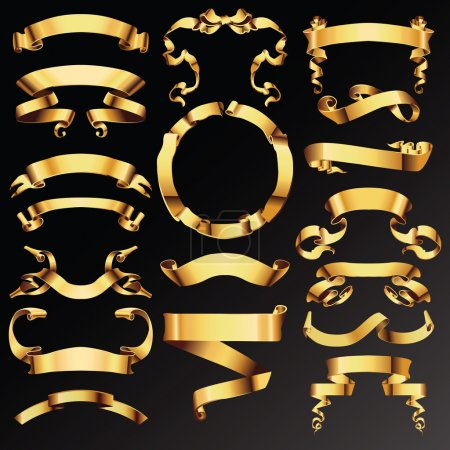 Illustration for Set of golden vector ribbons or banners for your text. - Royalty Free Image