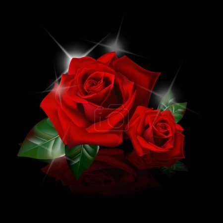 Illustration for Beautiful red roses on black background - Royalty Free Image