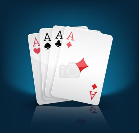 Illustration pour Quatre as de cartes à jouer costumes sur bleu - image libre de droit