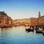 Rialto Bridge and gondolas in Venice....