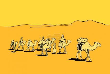 Illustration pour Caravane de chameaux dans le désert - image libre de droit
