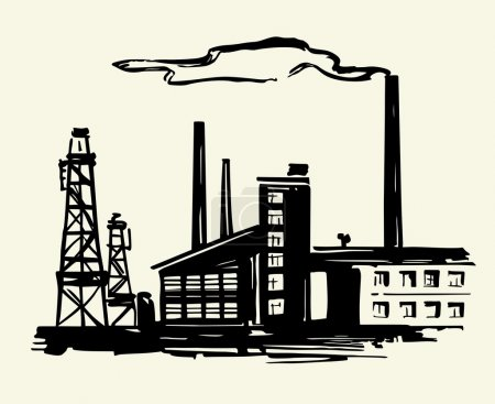 Illustration for Old factory with smoke over it - Royalty Free Image