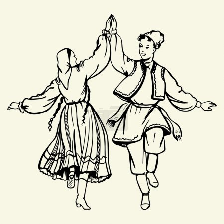 Dancing couple in traditional dress