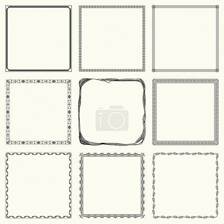 Illustration for Nine decorative square frames - Royalty Free Image